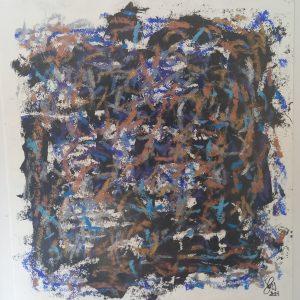 LA TRACE D'UN SUCCES FRAGILE - papier mixte - 33x33 cm